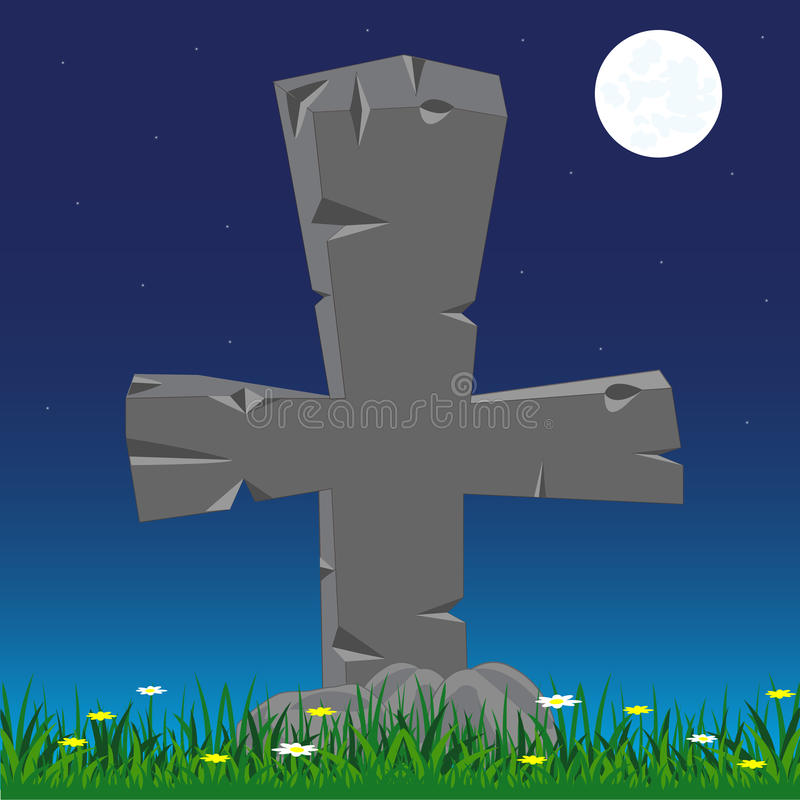 Grave with cross from stone. Grave with stone cross moon in the night stock illustration