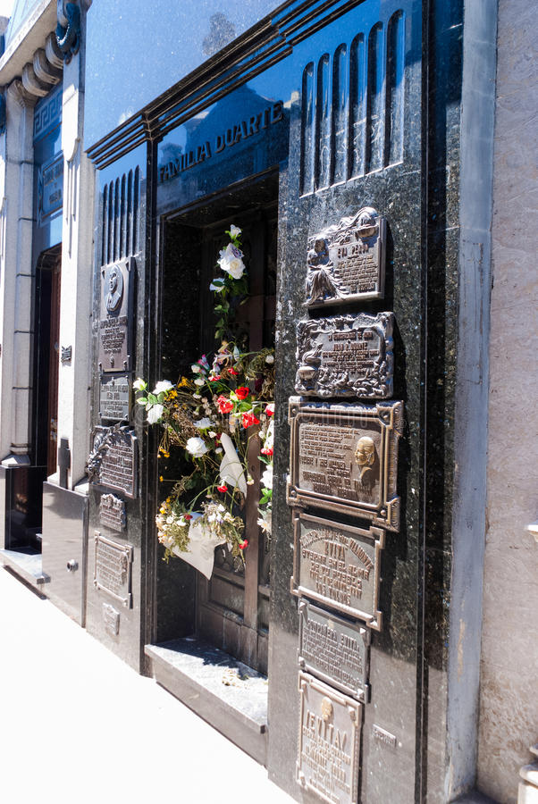 Grave of Evita Peron stock photography