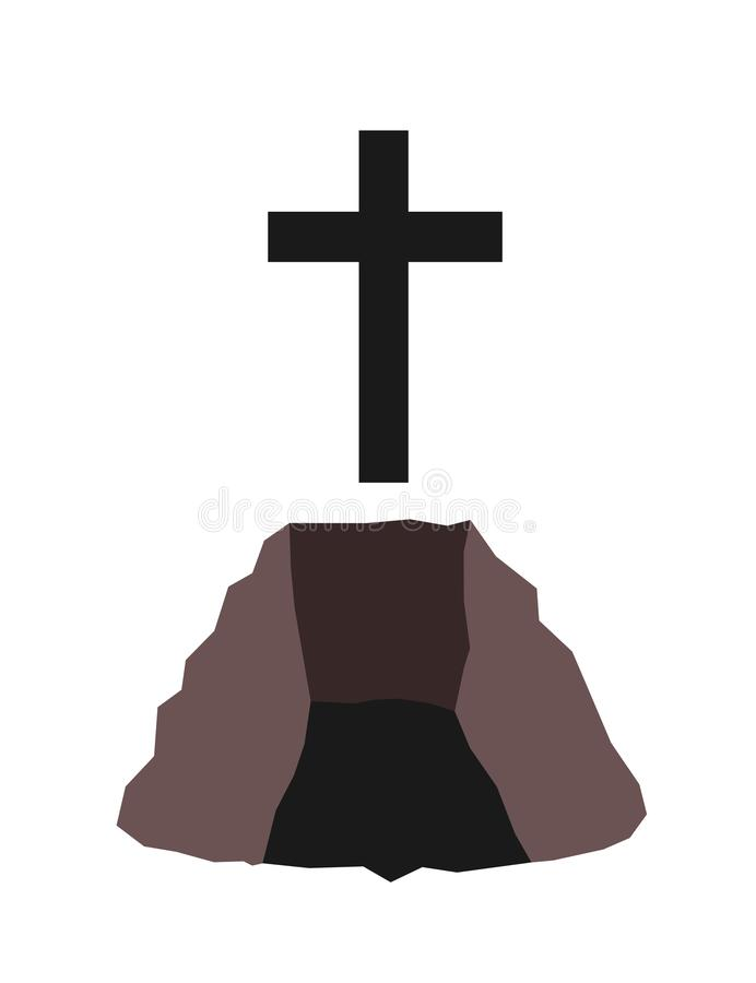 Grave - foro in terra per il funerale e l'atto rituale di sepoltura royalty illustrazione gratis