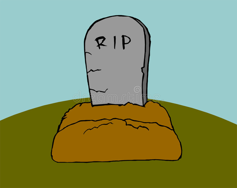 Grave on green grass. Grave with stone on green grass stock illustration