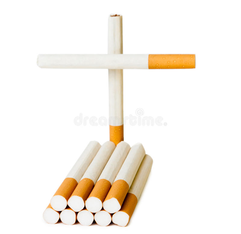 Grave headstone and cross of cigarettes