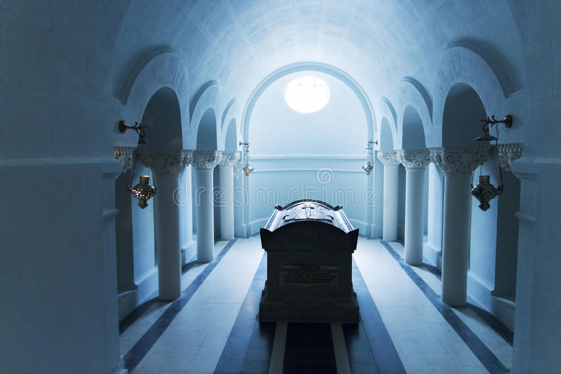 Grave inside mausoleum royalty free stock photo