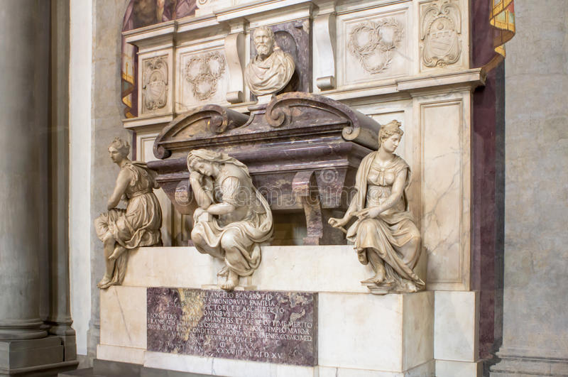 Grave of the Italian sculptor, painter, architect, poet, and eng. The Basilica of Santa Croce is one of the main Florence attractions of the Renaissance, Tuscany royalty free stock image