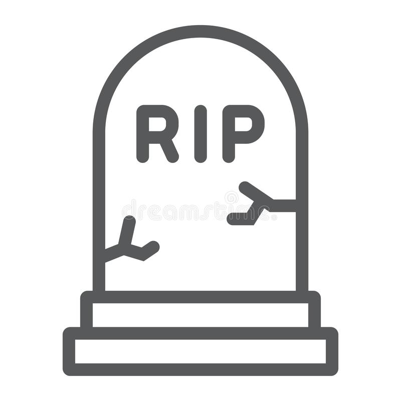 Grave line icon, gravestone and funeral, tombstone sign, vector graphics, a linear pattern on a white background. Grave line icon, gravestone and funeral royalty free illustration