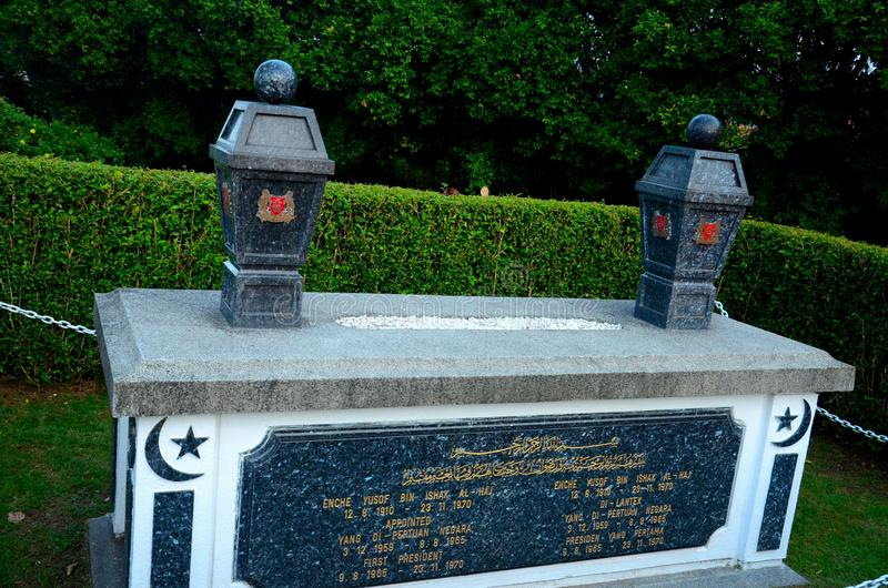 Grave of Malay Muslim Singapore President Yusof Ishak at Kranji State Cemetery royalty free stock photos
