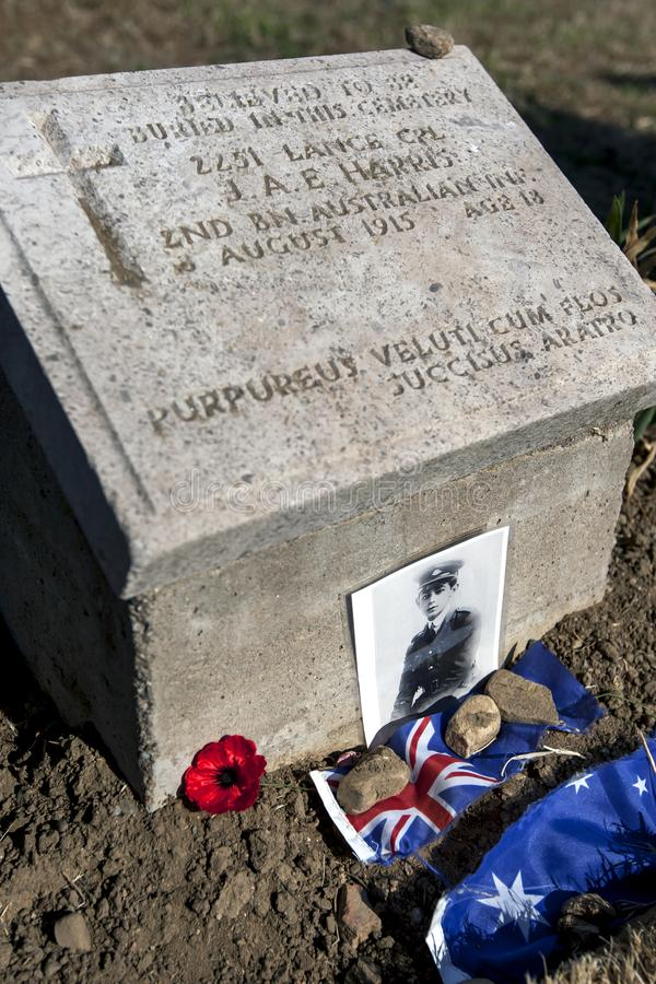 Grave stone at Lone Pine Memorial. A grave stone at Lone Pine Memorial at Gallipoli in Turkey. It belongs to young Australian soldier 2251 Lance Cpl J.A.E royalty free stock photos