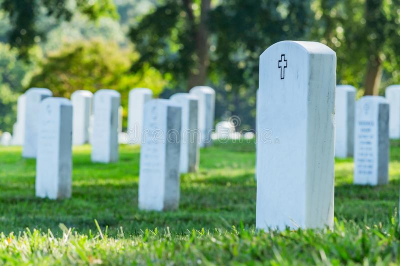 Grave stones in Arlington cemetery. stock photos