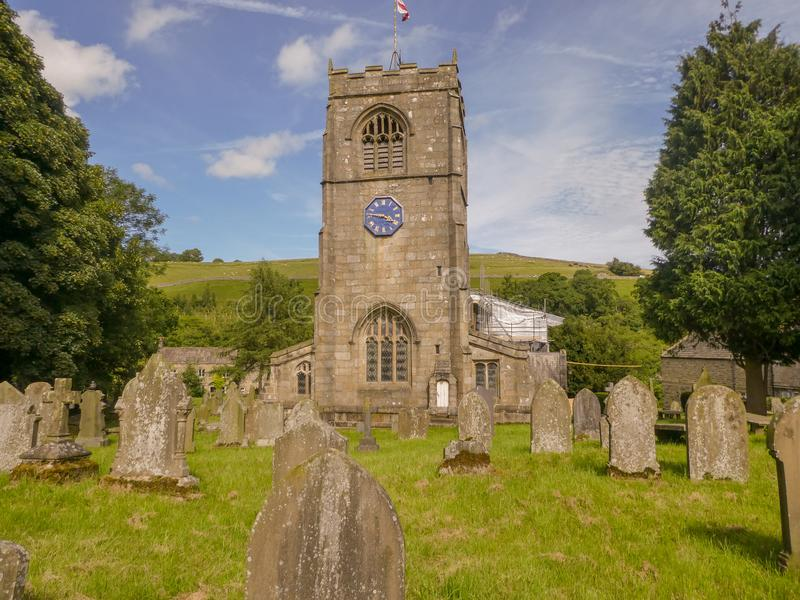 Old English church and grave yard royalty free stock image
