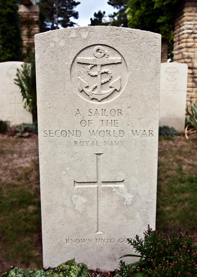 Grave of unknown sailor. From the Second World War, Normandy, France stock image