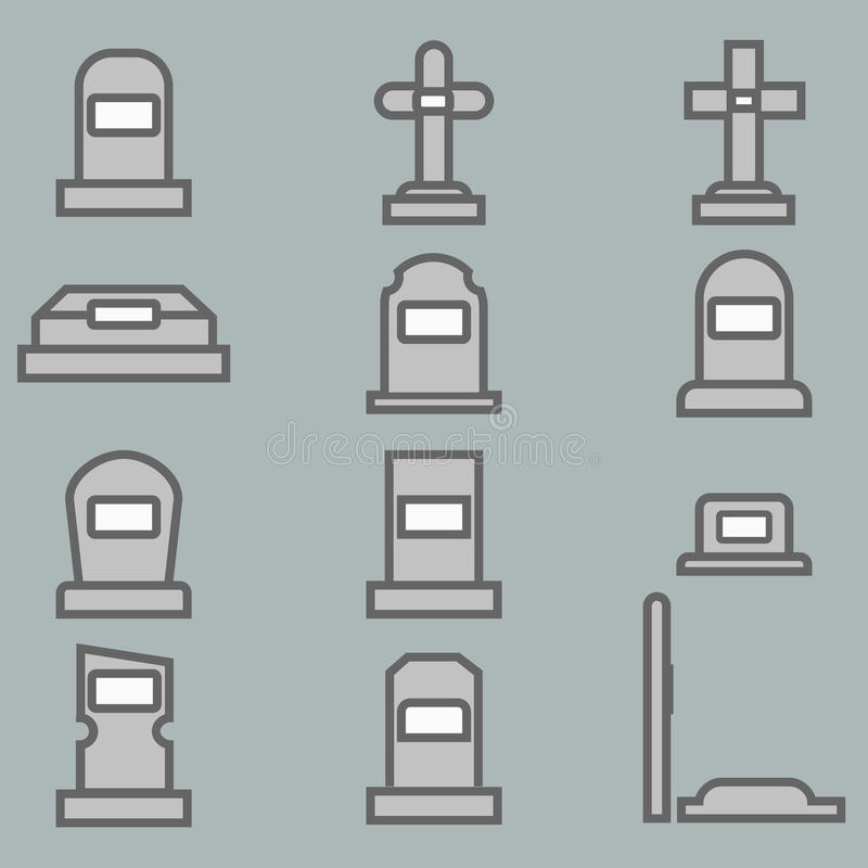 12 Grave vector icons set. stock image