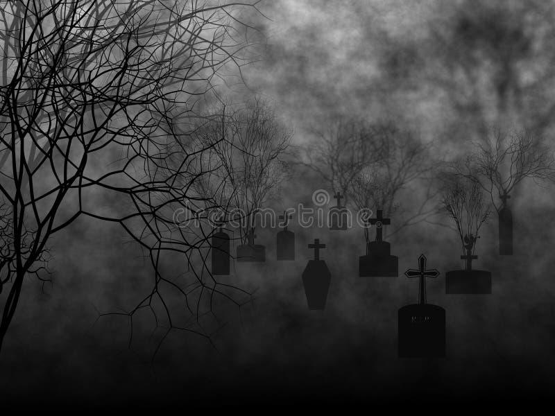 Grave yard in the mist. Grave yard in dark mist of horror halloween time royalty free illustration