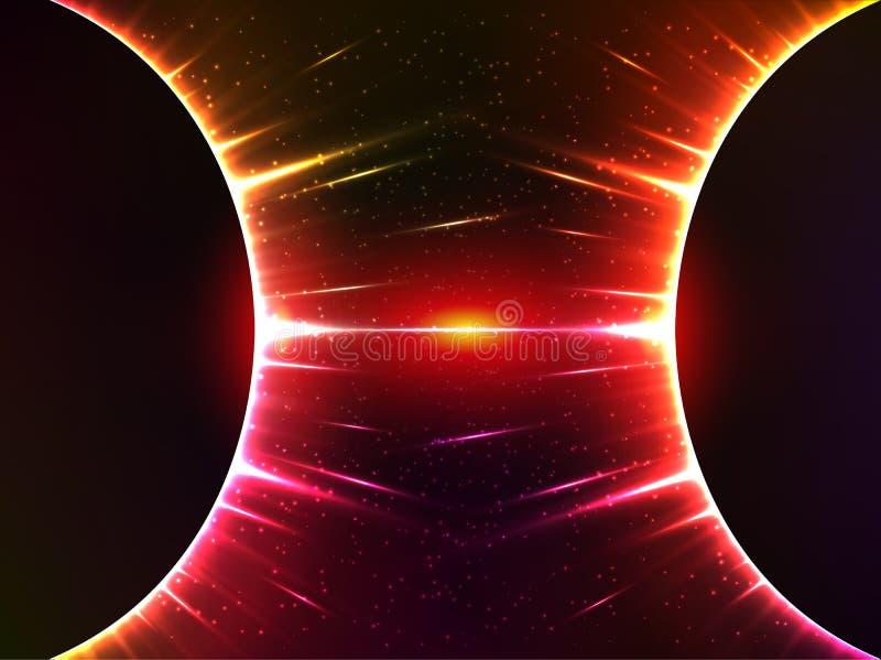 Gravedad cósmica brillante rojo oscuro de las esferas ilustración del vector