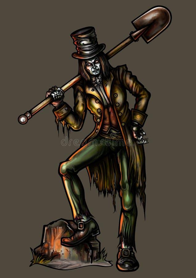Gravedigger com uma pá ilustração do vetor