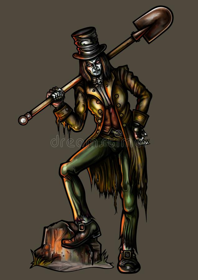 Gravedigger met een schop vector illustratie
