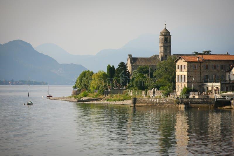 Gravedona sjö Como royaltyfri foto