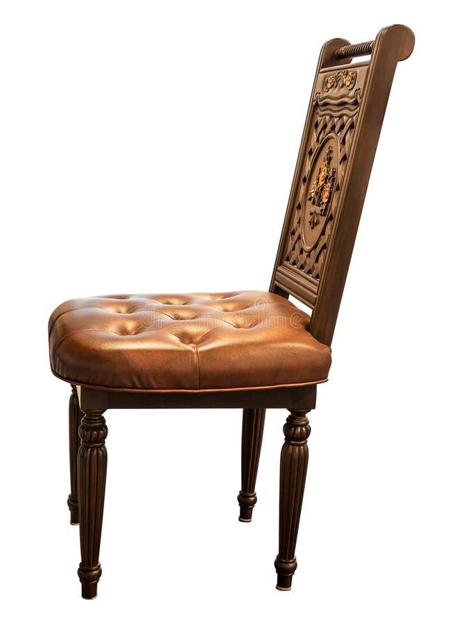 Graveer houten stoel stock fotografie