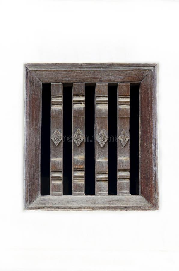 Graveer houten venster royalty-vrije stock afbeelding
