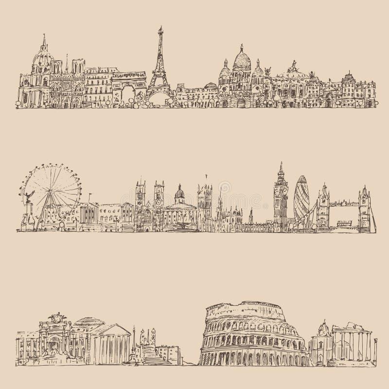 graveerde de stads vastgestelde (Londen, Parijs, Rome) wijnoogst illustratie, getrokken hand vector illustratie