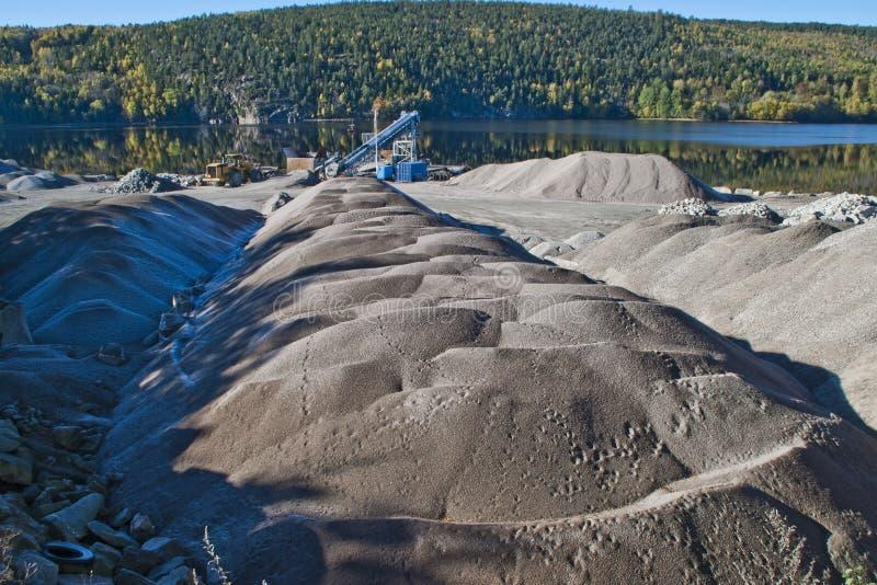 Gravel piles at brekke quarry, angle 3 stock images