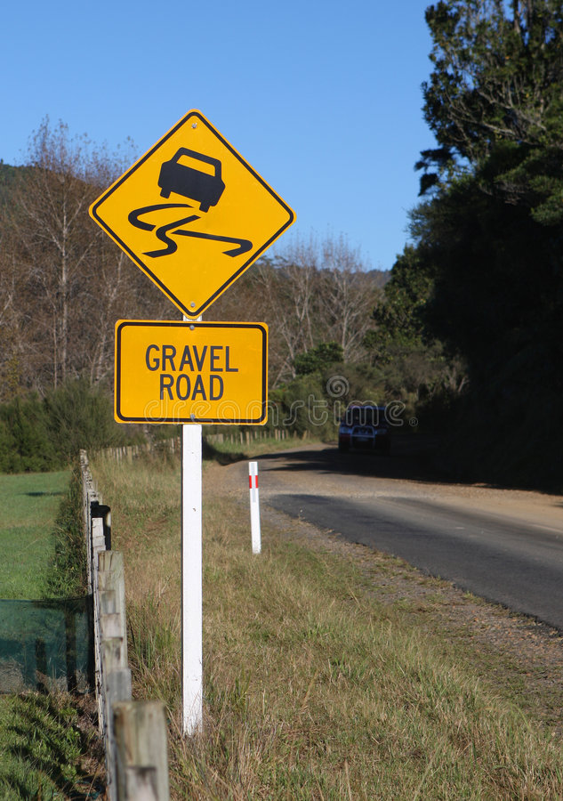 Gravel Road Sign royalty free stock photo