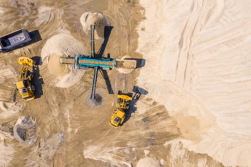 Gravel and sand open pit mining. Aerial view stock photography