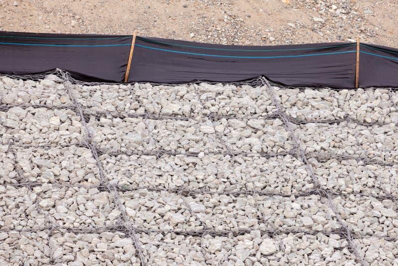 Gravel wire mesh bank revetment erosion control royalty free stock photos