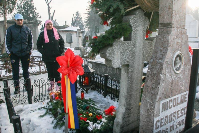 Graven av den kommunistiska diktatorn Nicolae Ceausescu arkivbilder