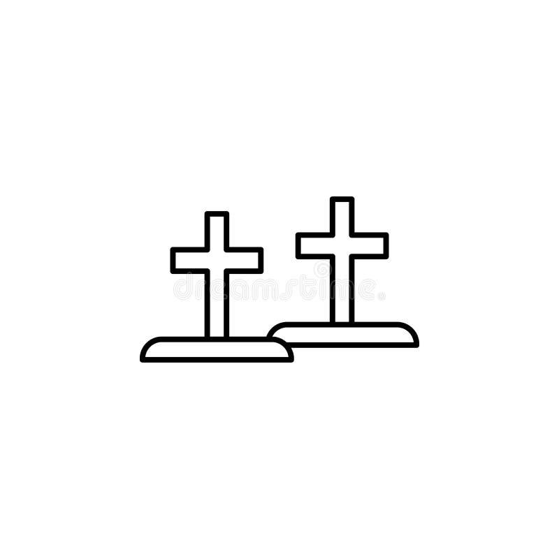 graven, het pictogram van het doodsoverzicht gedetailleerde reeks pictogrammen van doodsillustraties Kan voor Web, embleem, mobie vector illustratie