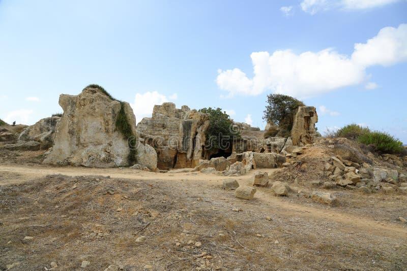 Graven van de Koningen, een oud necropool in Paphos stock afbeelding
