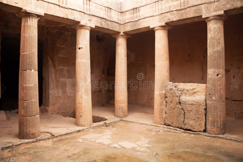 Graven van de Koningen - indrukwekkend oud necropool Paphos Distr stock foto