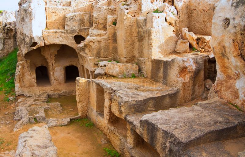 Graven van de Koningen - indrukwekkend oud necropool Paphos Distr royalty-vrije stock fotografie