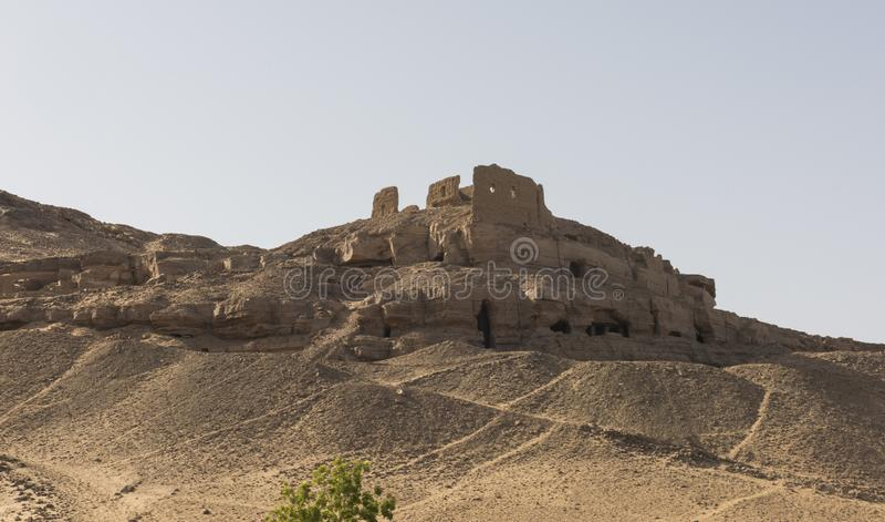 Graven van de noblesberg in Aswan Egypte royalty-vrije stock fotografie