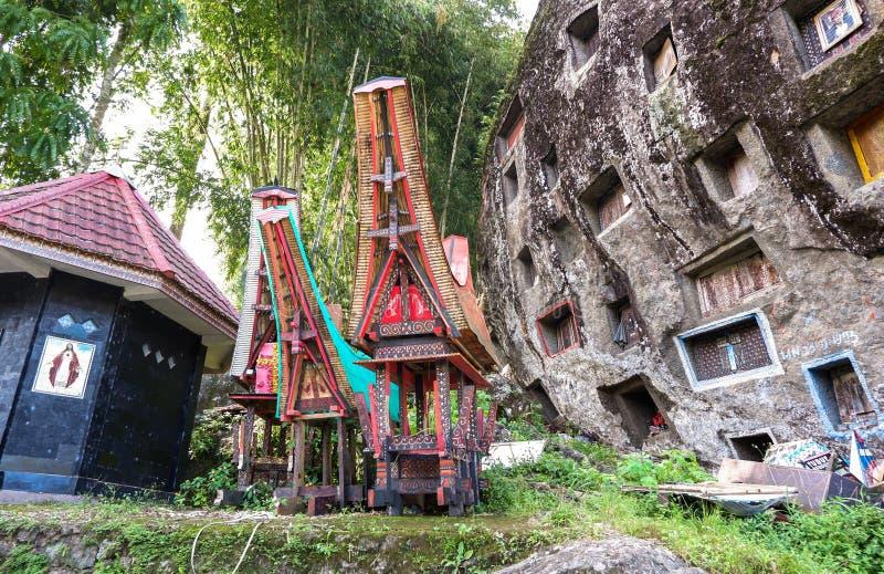 Graven van Torajan in Sulawesi, Indonesië stock foto