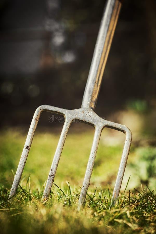 Gravende vork in de tuin, het tuinieren hulpmiddel voor een tuinman royalty-vrije stock afbeelding
