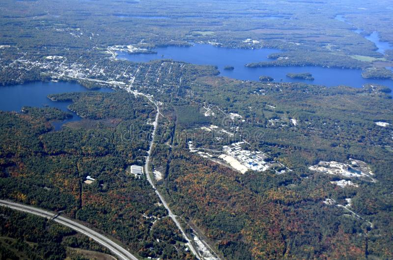 Gravenhurst highway Ontario, aerial. Autumn aerial view of a highway leading north to Gravenhurst at lake Muskoka, Ontario Canada stock photo