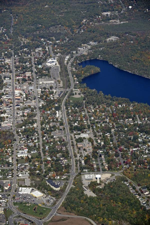 Gravenhurst Ontario, aerial. Autumn aerial view of Gravenhurst at lake Muskoka, Ontario Canada royalty free stock photo