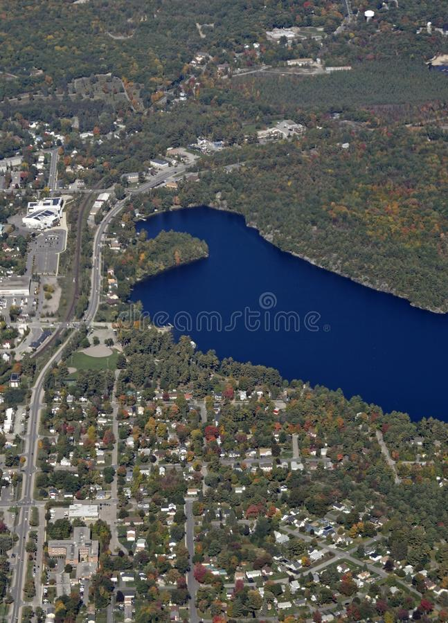 Gravenhurst Ontario, aerial. Autumn aerial view of Gravenhurst at lake Muskoka, Ontario Canada royalty free stock image