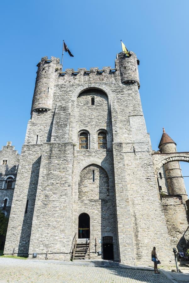 Gravensteen中世纪城堡在跟特,比利时 图库摄影