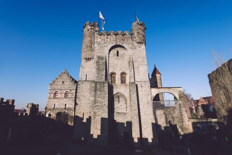 Gravensteen城堡在跟特,比利时 免版税库存照片