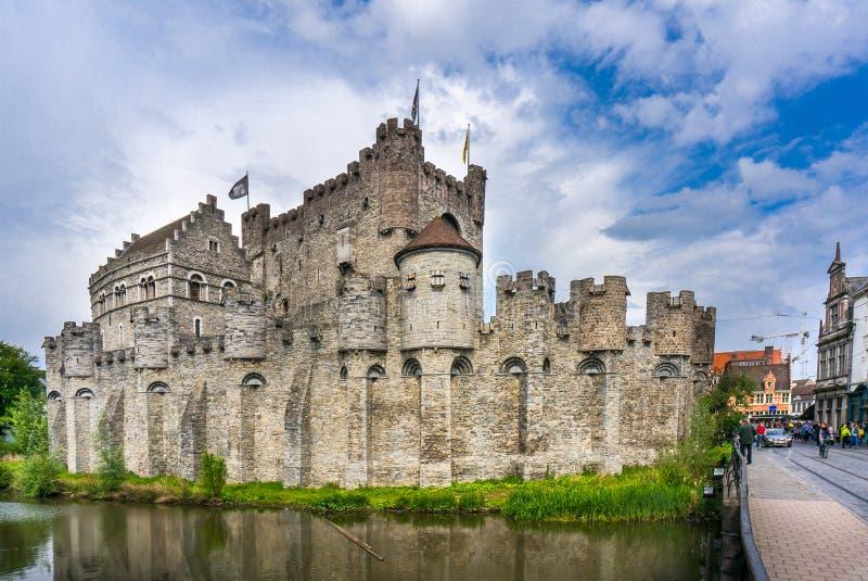 Gravensteen城堡在跟特,比利时 图库摄影