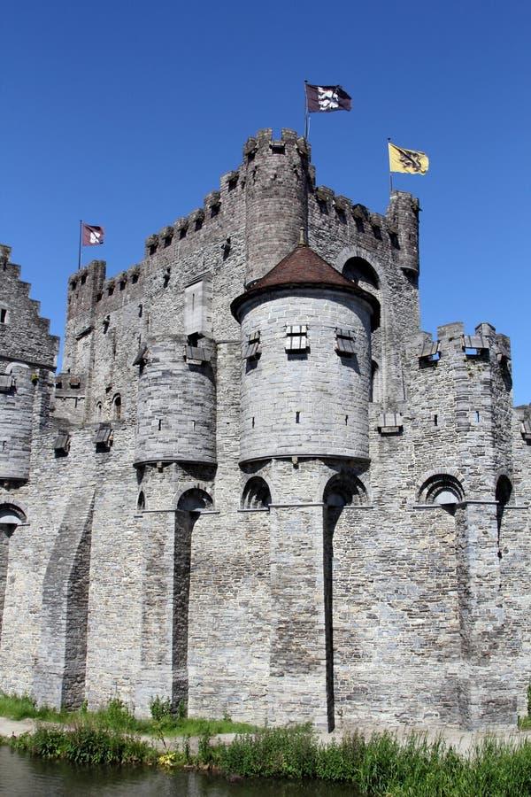 Gravensteen城堡在跟特,比利时 库存图片