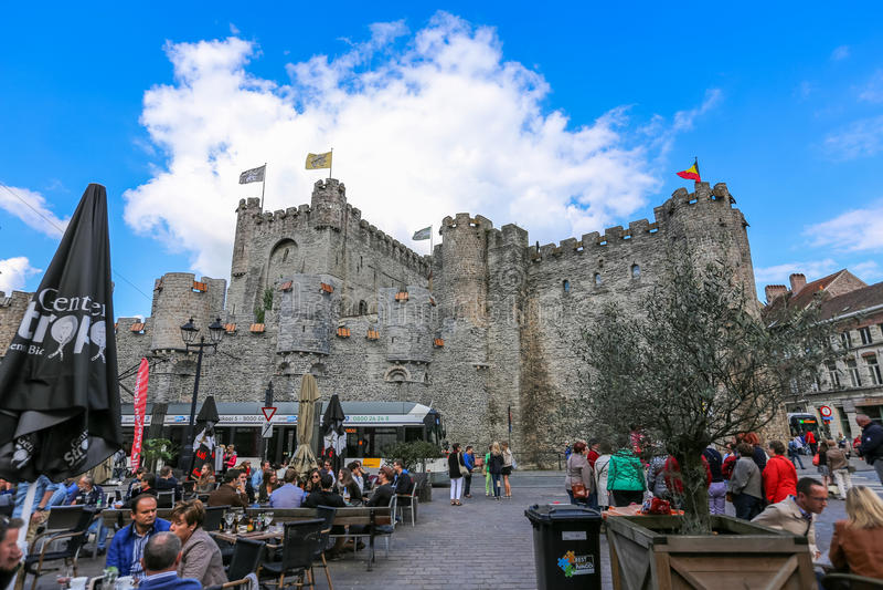 Gravensteen城堡绅士,比利时 免版税库存照片
