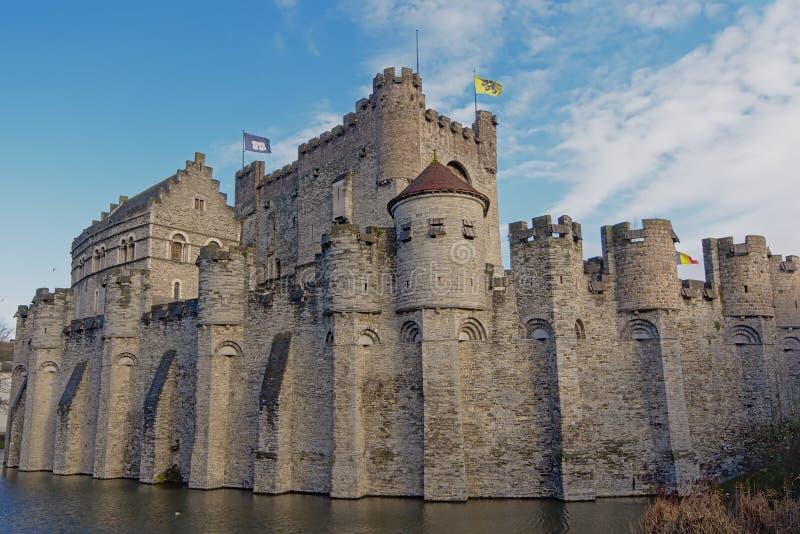 Gravensteen,中世纪城堡在跟特  库存图片