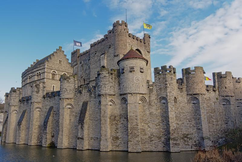 Gravensteen, średniowieczny kasztel w mieście Ghent obrazy stock