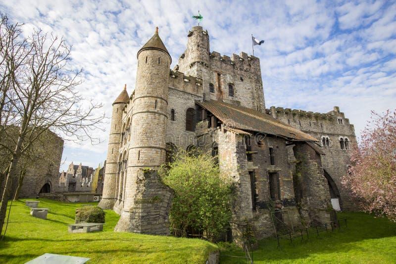 Gravensteen Castle in Gent, Vlaanderen, België stock foto's