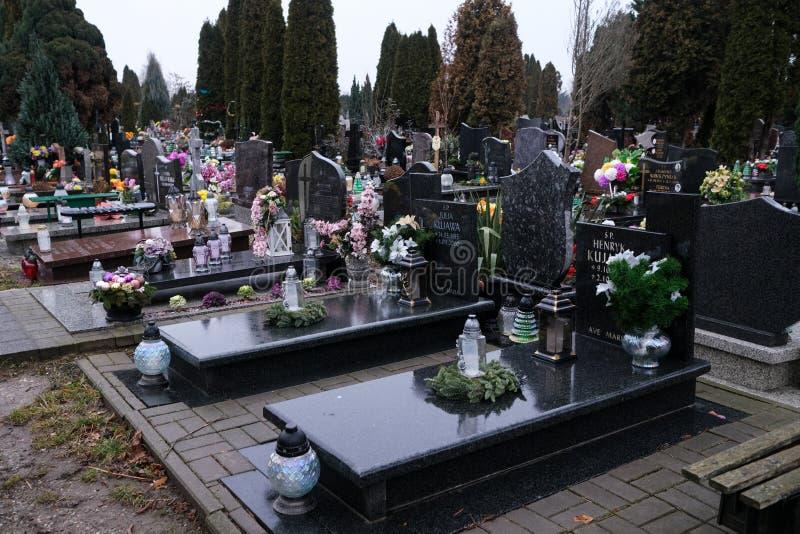 Graves in the cemetery of Holy Spirit, Wroclaw. Wroclaw, Poland - 19 January 2020: graves in the cemetery of Holy Spirit Swietego Ducha at  Bardzka street in royalty free stock photos