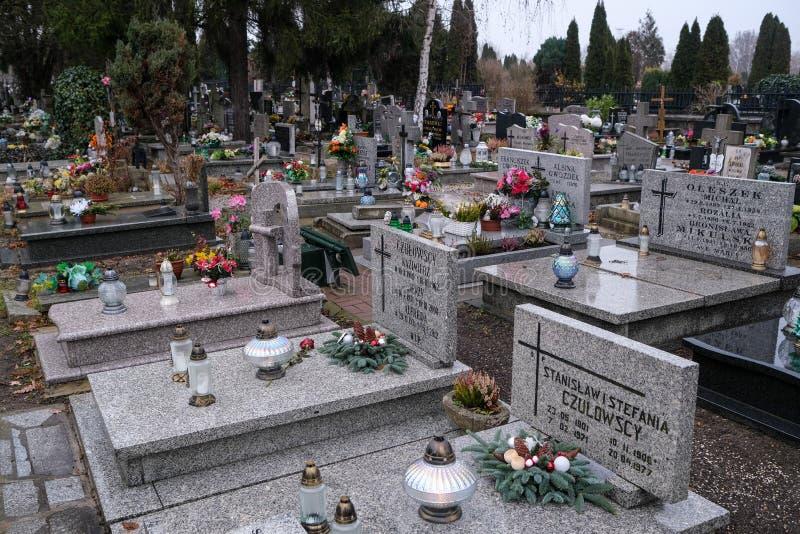 Graves in the cemetery of Holy Spirit, Wroclaw. Wroclaw, Poland - 19 January 2020: graves in the cemetery of Holy Spirit Swietego Ducha at  Bardzka street in stock photo