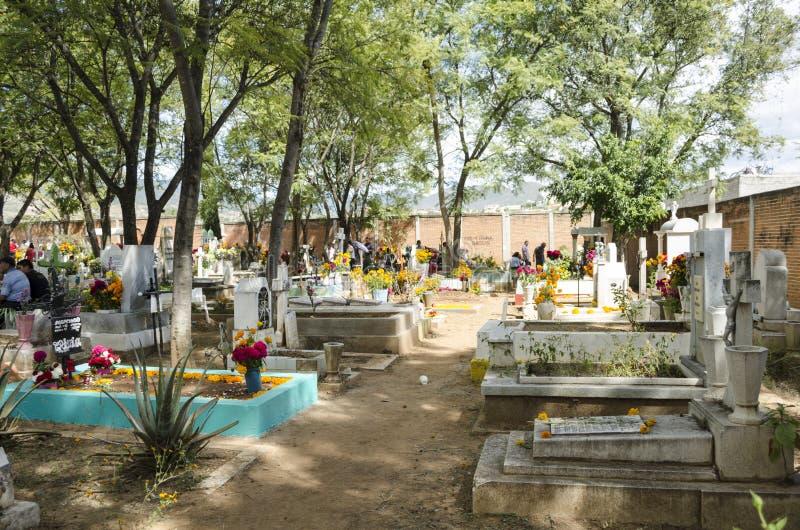 Graves decorated with flowers. OAXACA, OAXACA, MEXICO - NOVEMBER 2, 2016: Graves decorated with flowers at the Oaxaca General Cemetery in Oaxaca City, México royalty free stock photos
