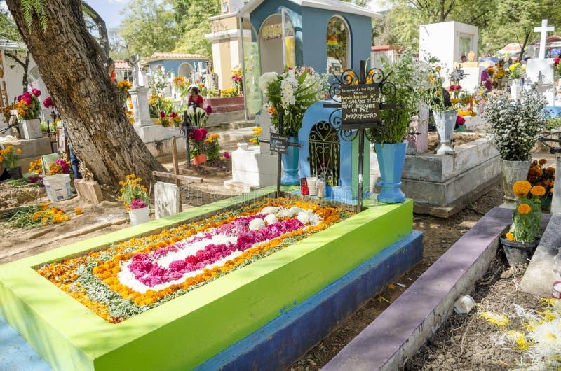 Graves decorated with flowers. OAXACA, OAXACA, MEXICO - NOVEMBER 2, 2016: Graves decorated with flowers at the Oaxaca General Cemetery in Oaxaca City, México stock image