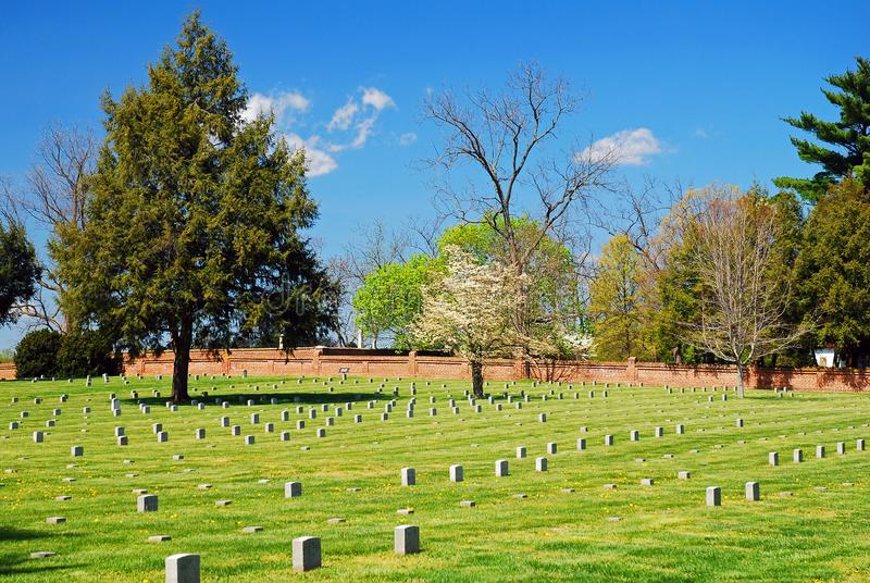 Cemetery at Fredericksburg Battle Site. Graves mark the burial spots of thousands of Union and Confederate soldiers at Fredericksburg National Battlefield in royalty free stock images